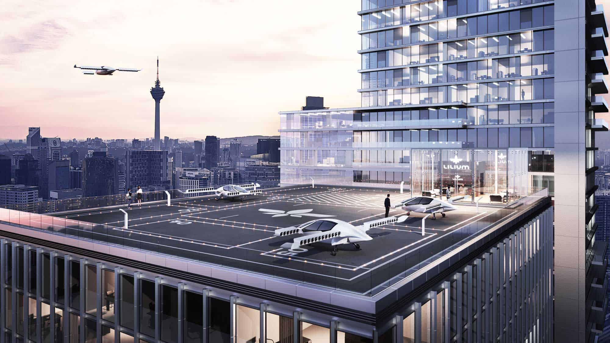 Artist's Rendering of a Lilium Landing Pad on a Rooftop