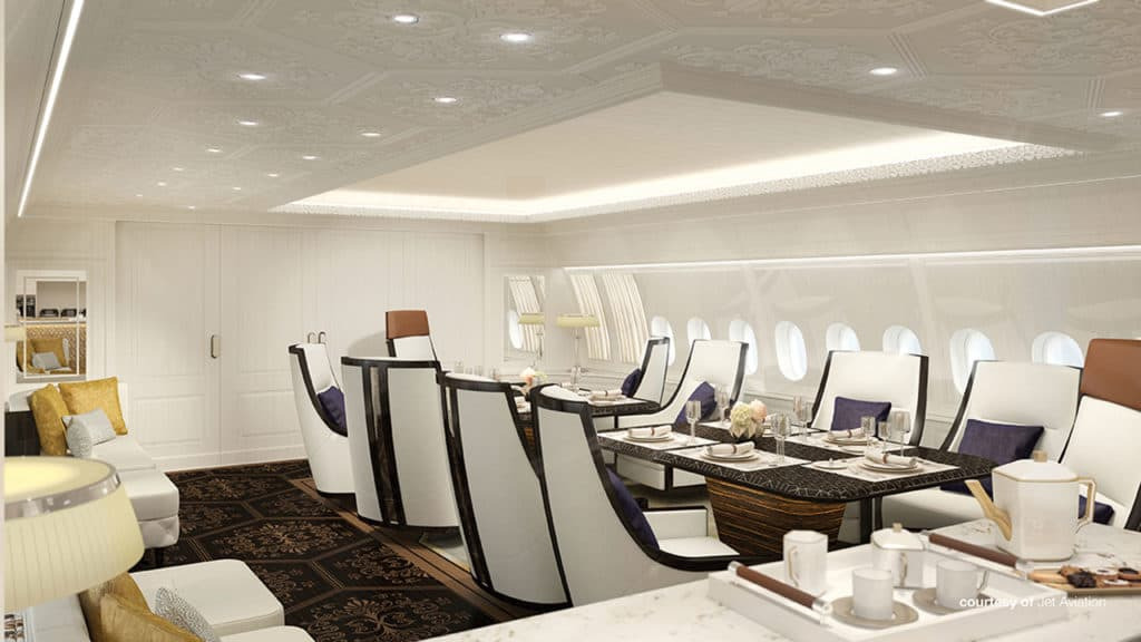 Dining area concept by Jet Aviation