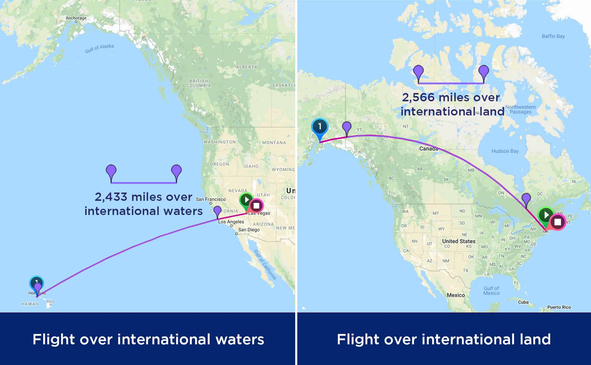 Map of flights over international water and international land