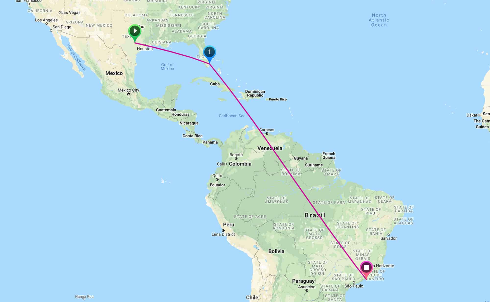 Map of an uninterrupted international flight from Austin to Rio de Janeiro
