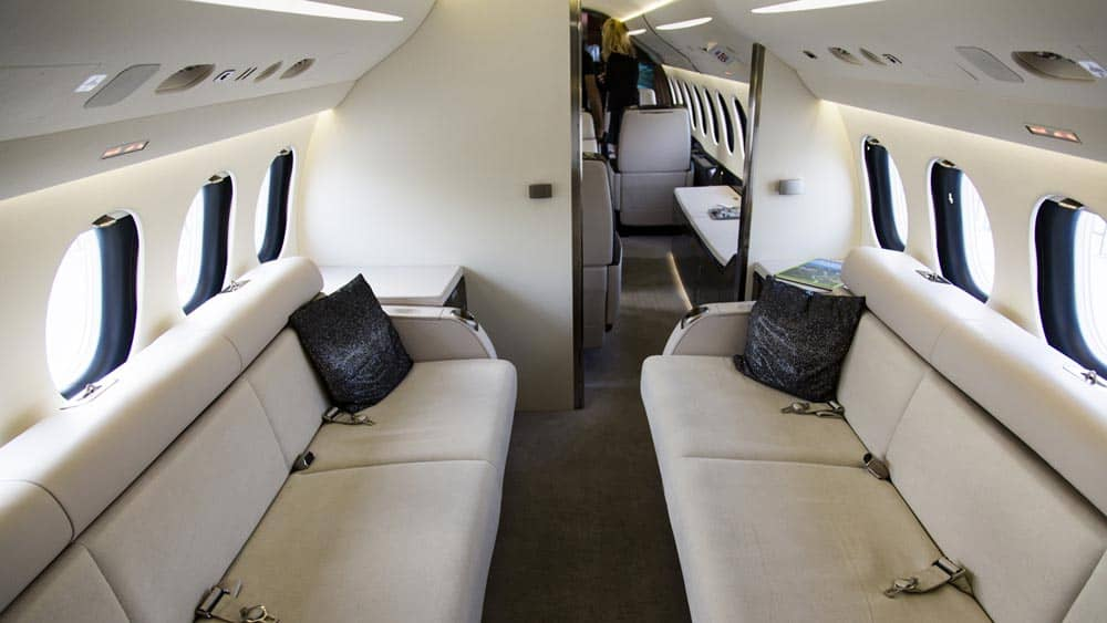 Comfortable sofa on a private jet