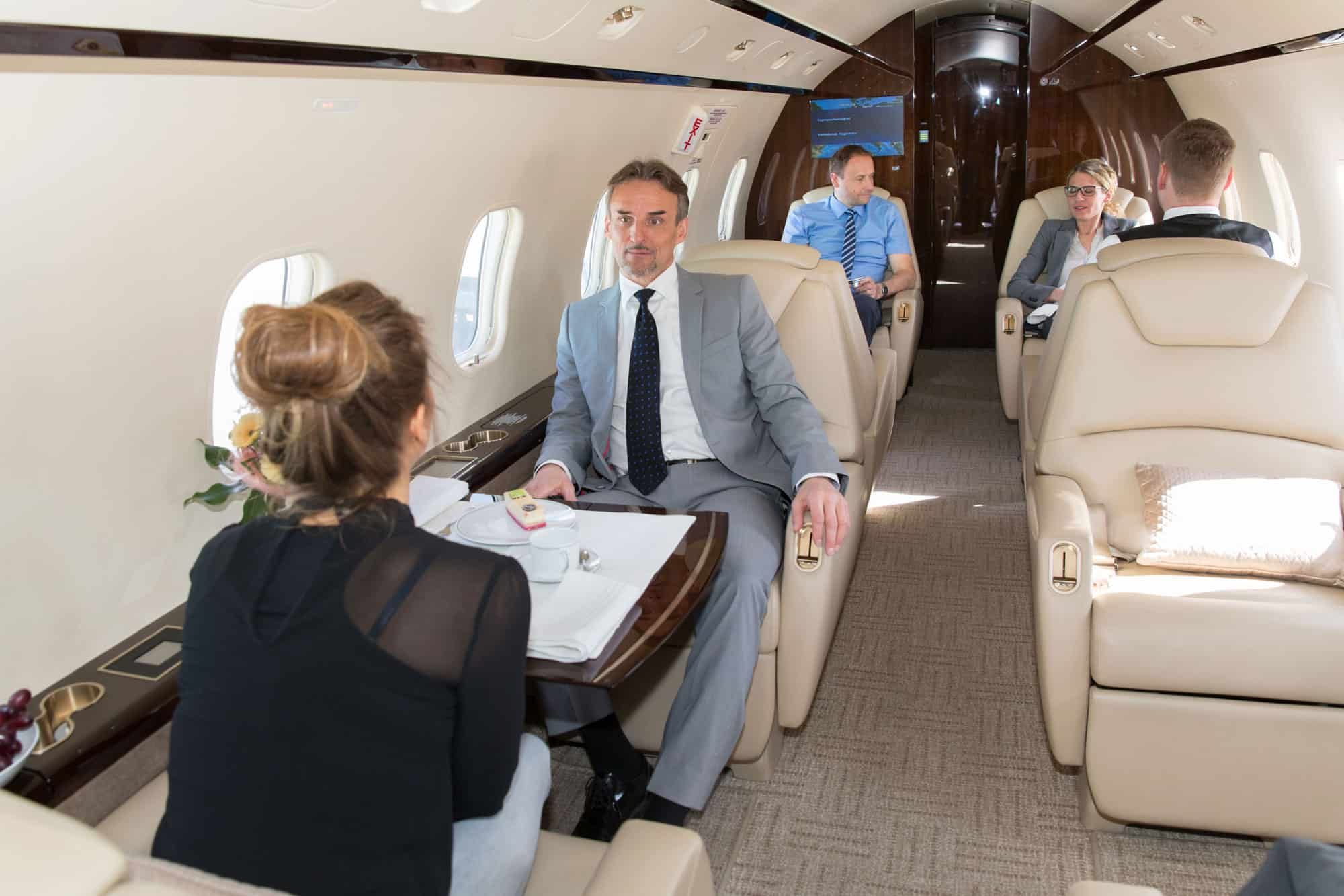 Passengers on a private jet