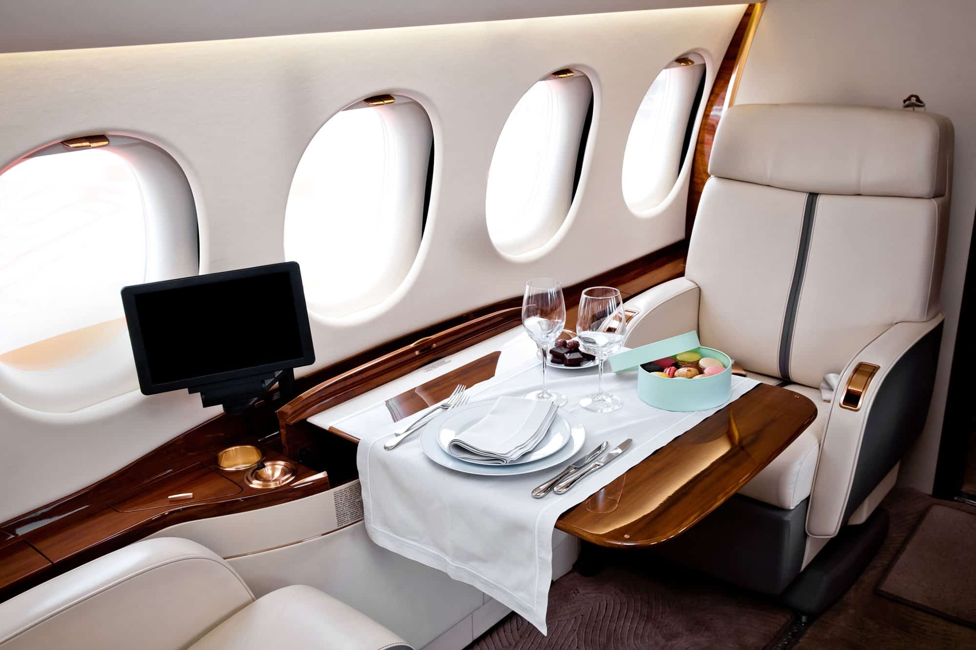 Luxury private jet interior