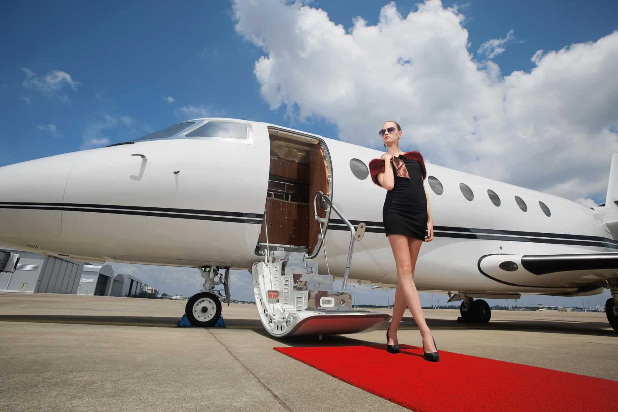Celebrity Walking from a Private Jet