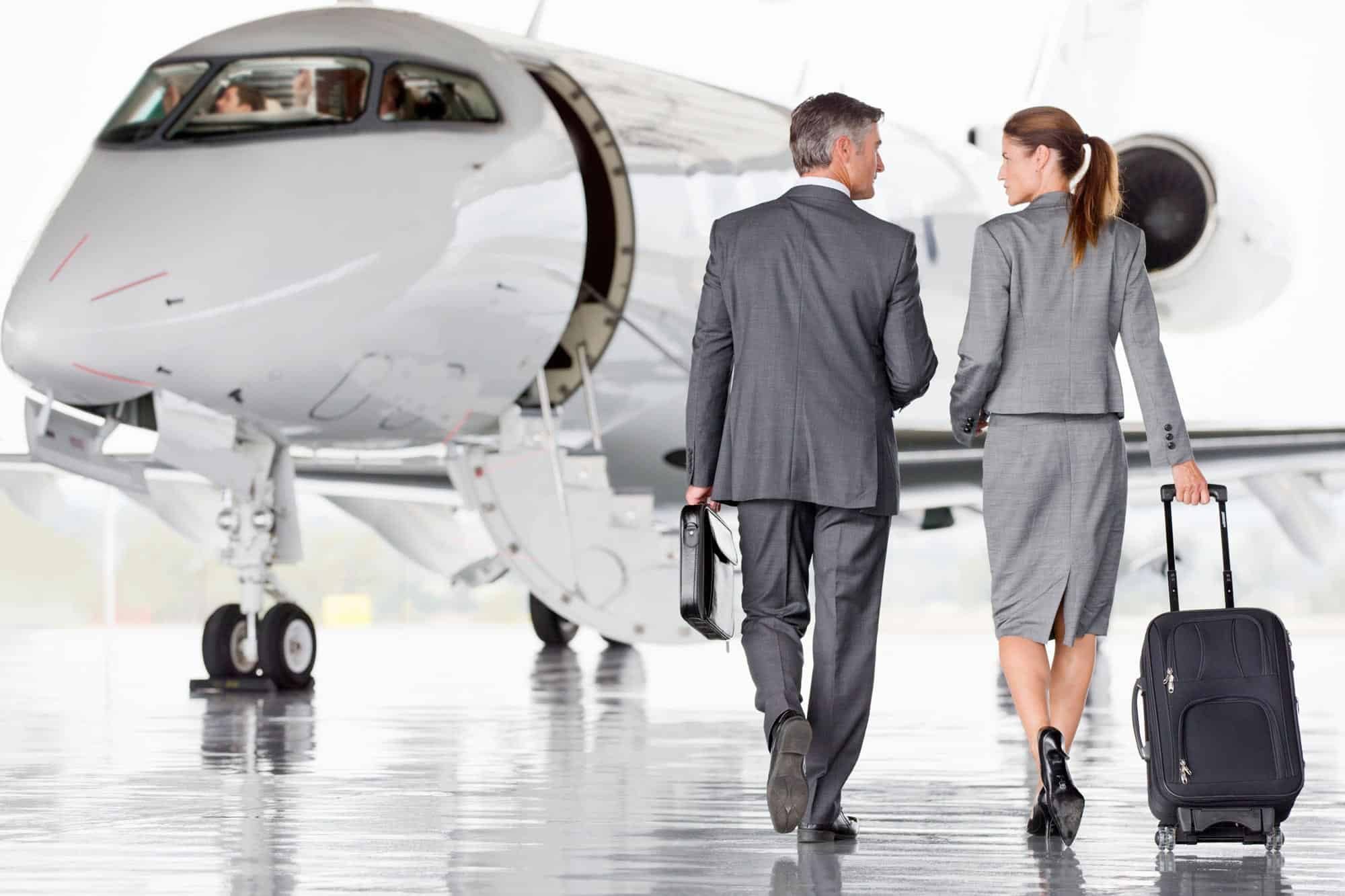 Fortune 500 Company Executives walking to a Private Jet