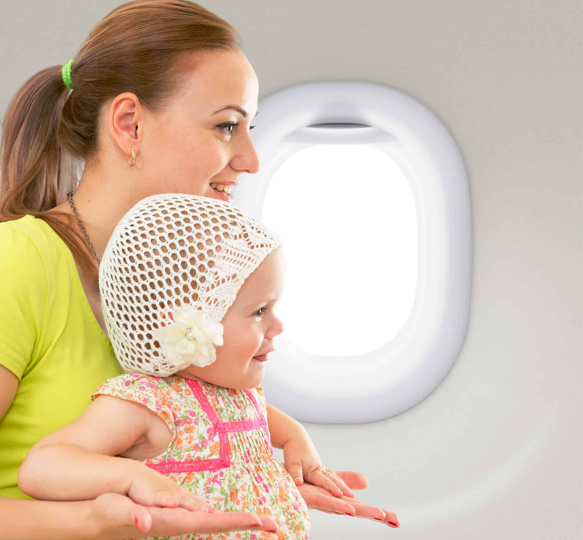 Mother and Baby on Private Jet