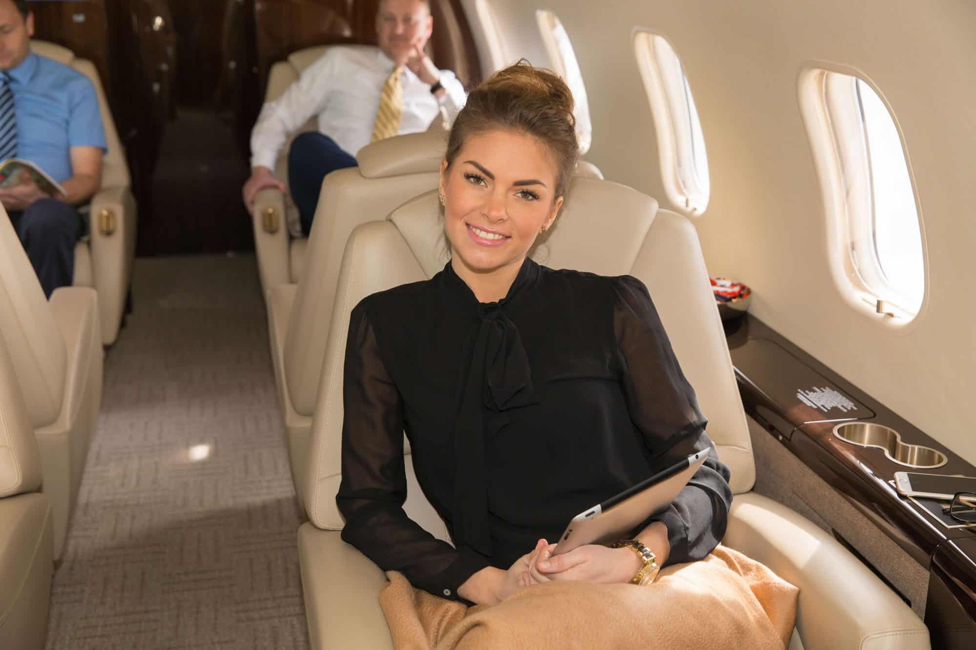 Passengers relaxed in a private jet arranged by a broker