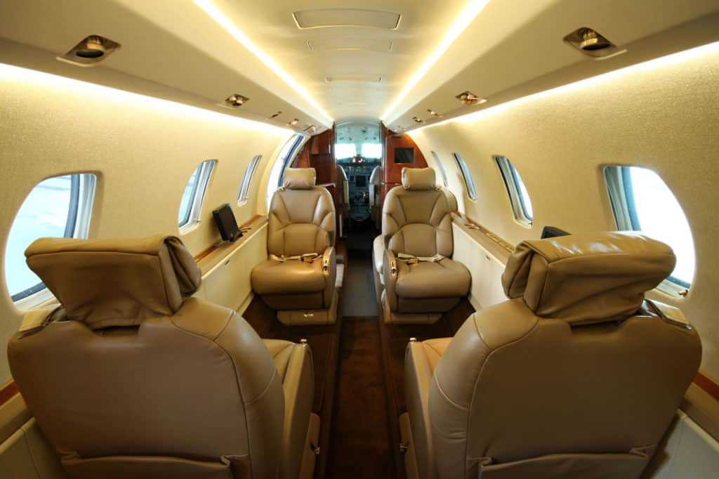 Refurbished Interior of a Private Jet