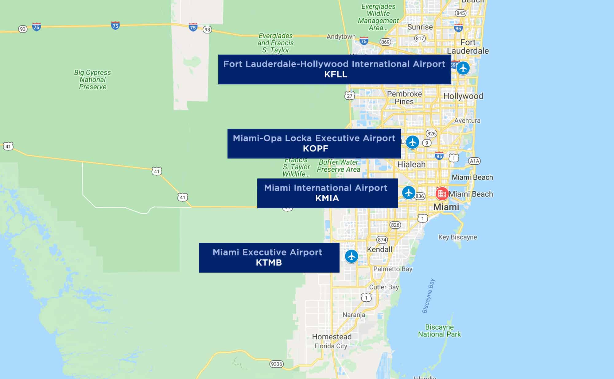 Map of Popular Miami Airports