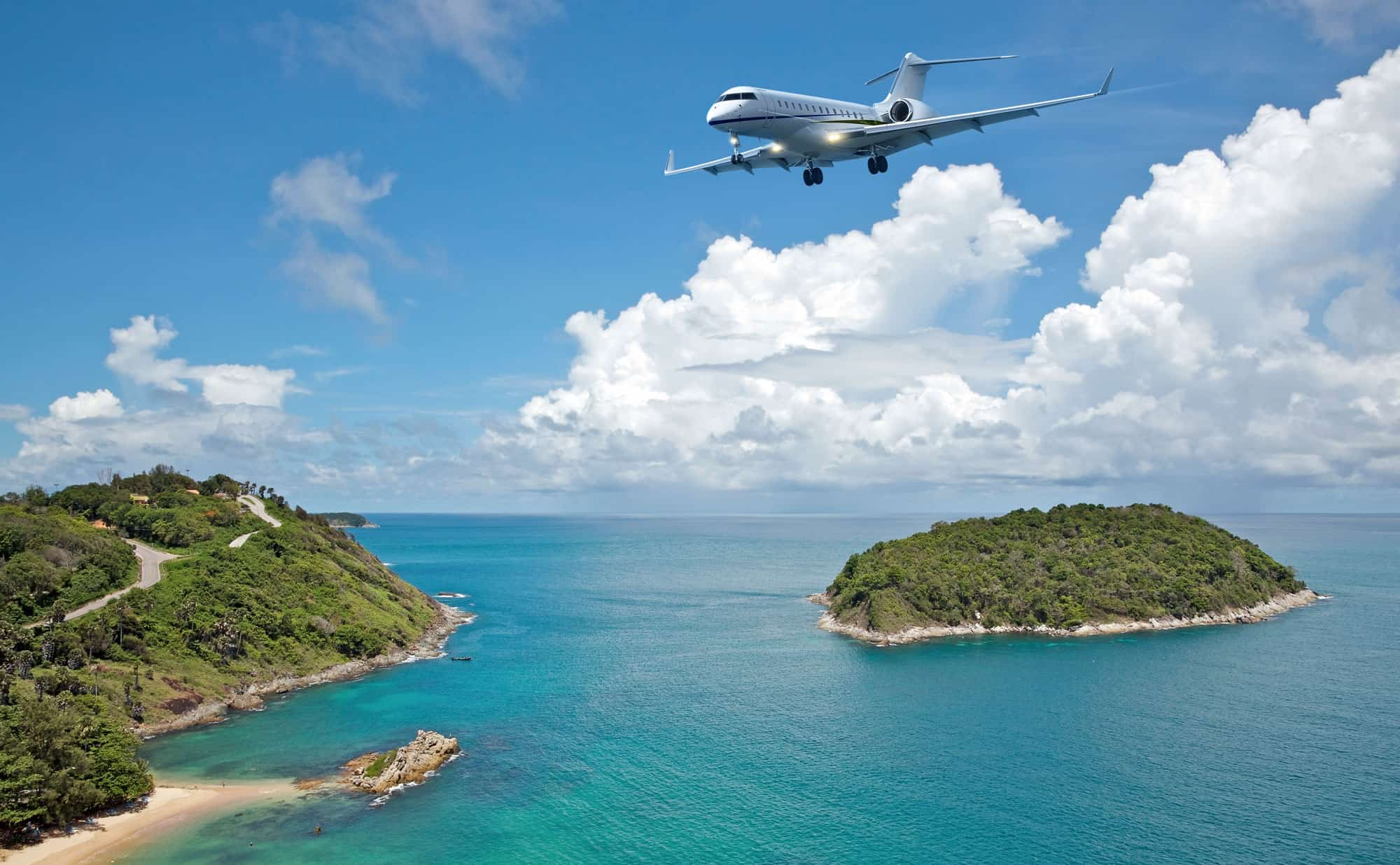Private Jet Flying along the Coastline