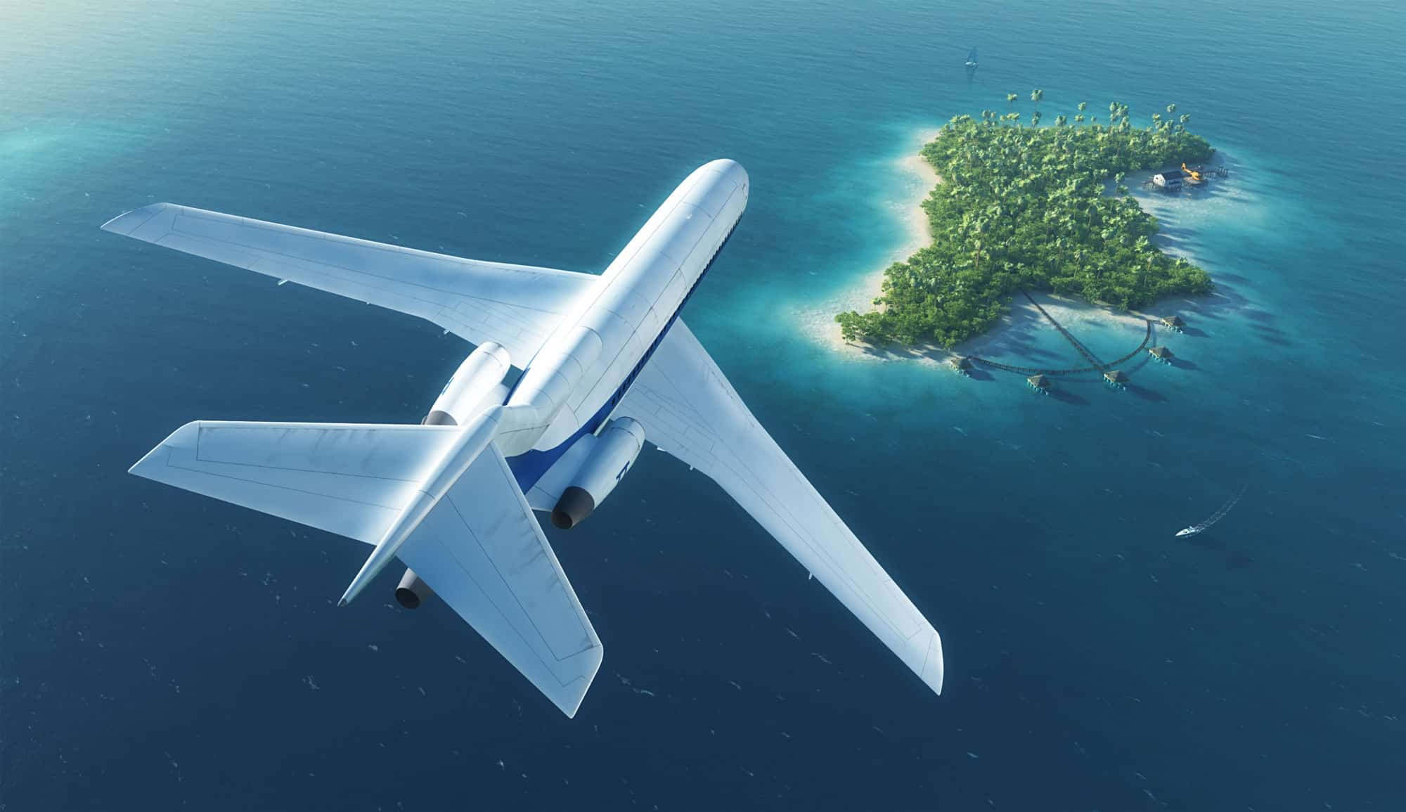 Private jet flying over an island