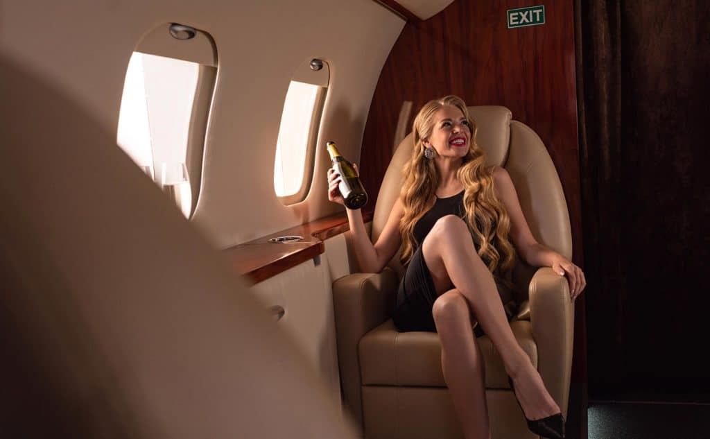 Client inside a private jet