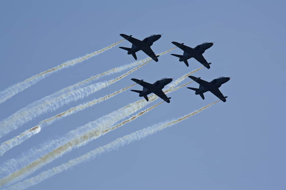 four hawker air force planes flying