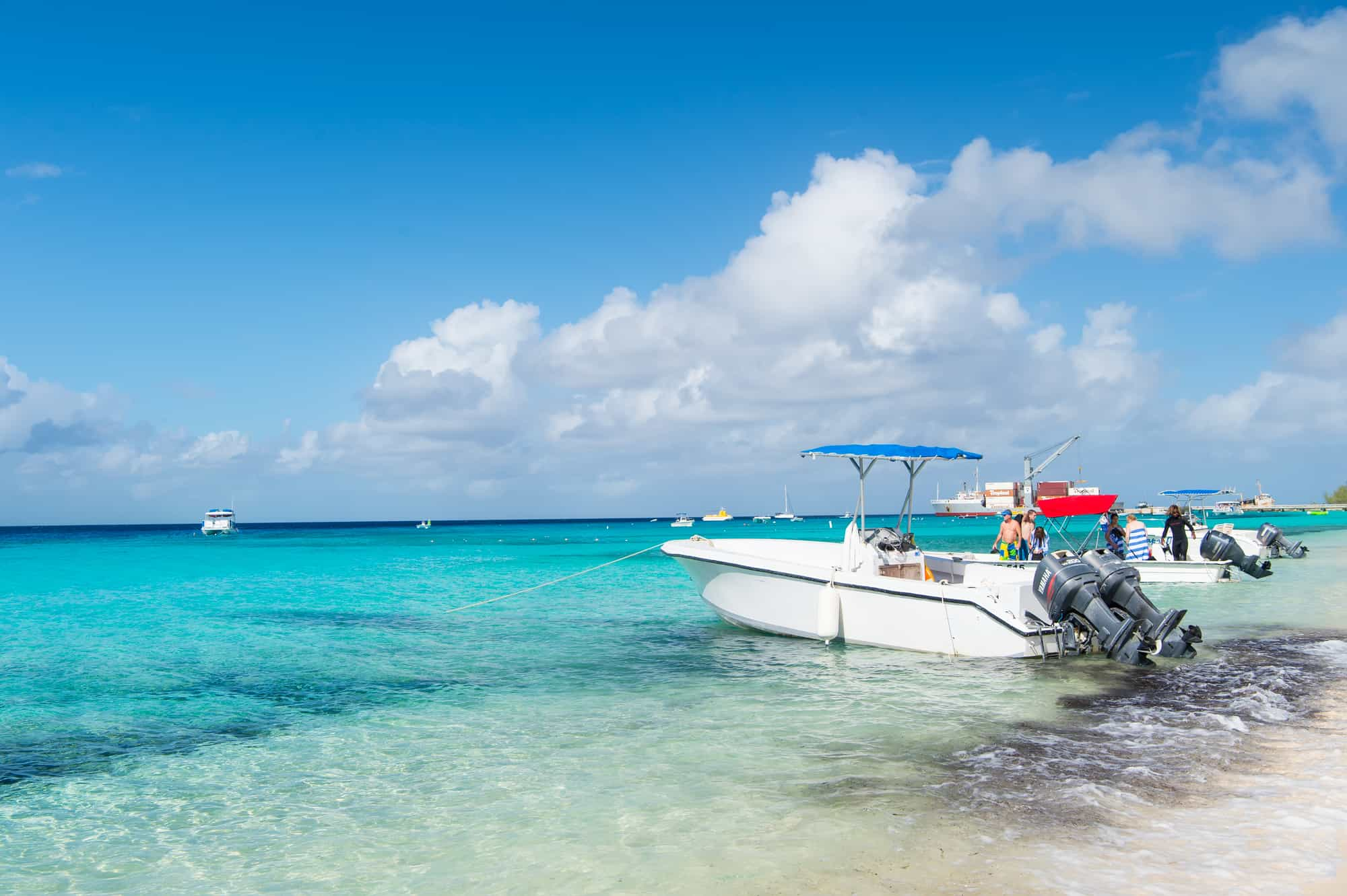 Boats laying on the beach at Grand Turk