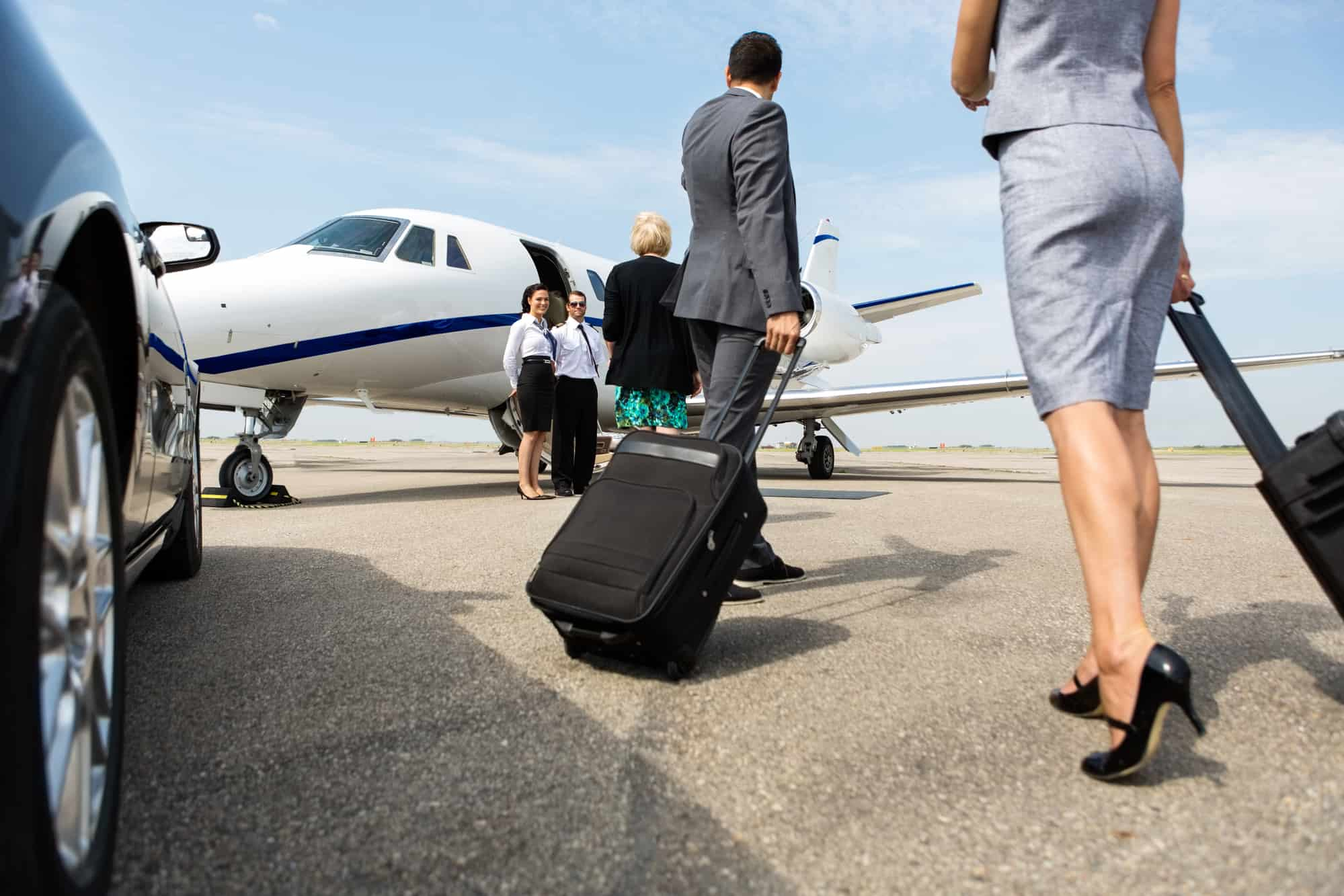 a couple being dropped off at their private jet without having to wait