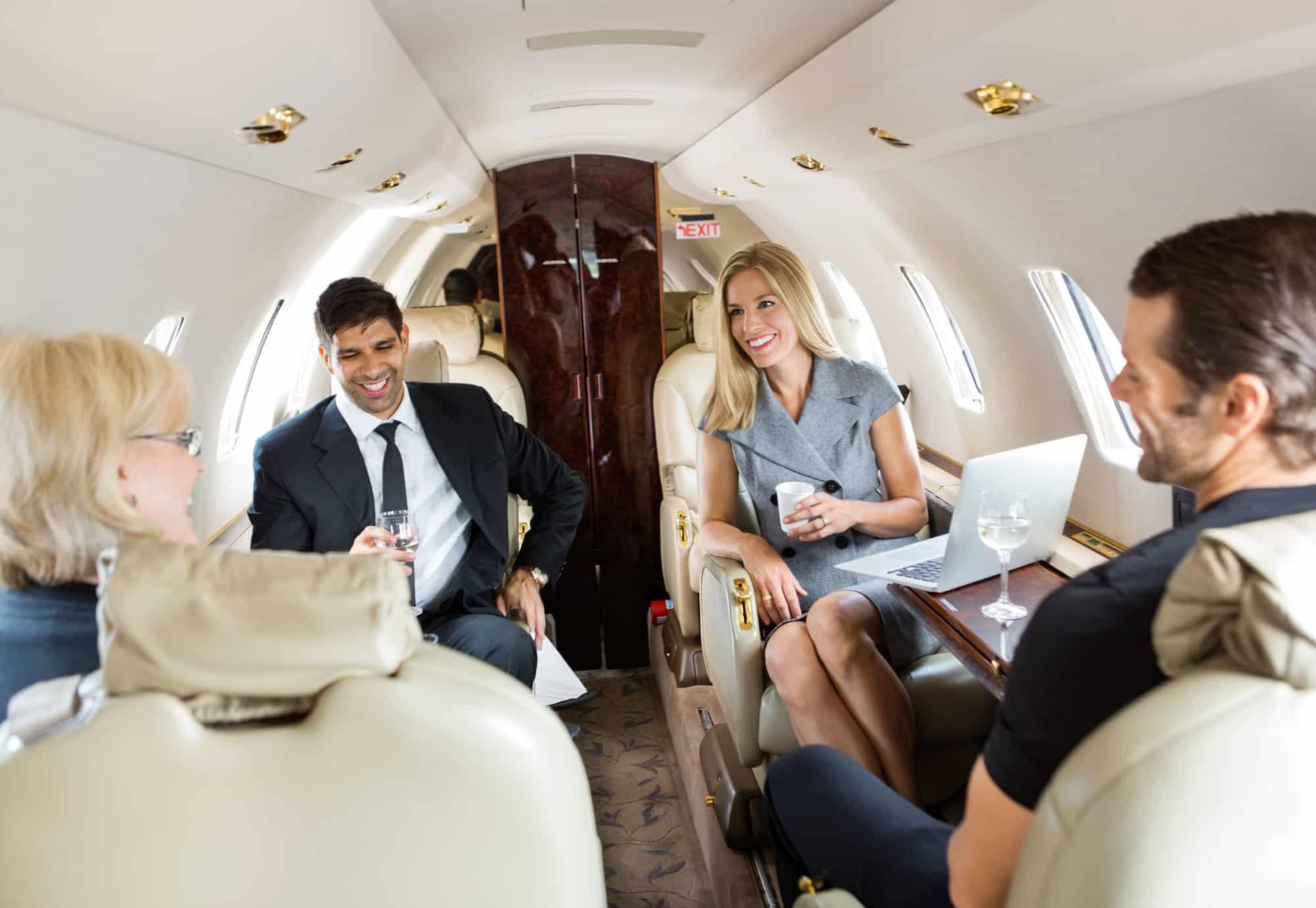 private jet card members flying in a private jet