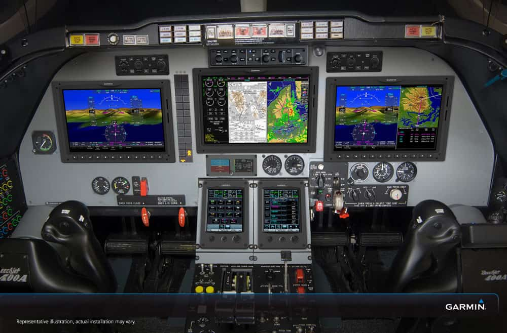 Hawker 400XP Cockpit with Garmin Avionics