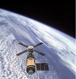 Skylab in Orbit over the Earth